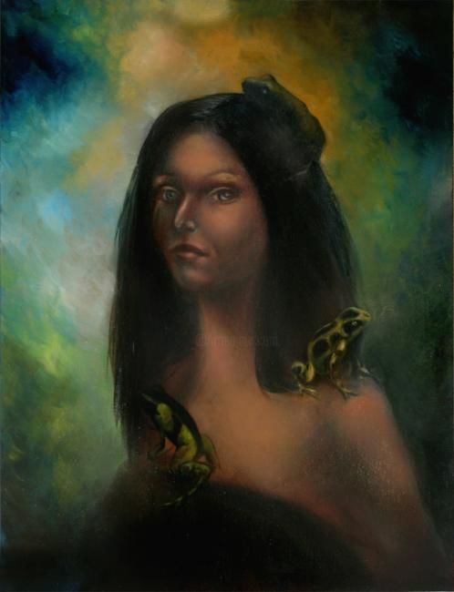Selfportrait with Frogs - Painting ©2007 by L.Jakobsson -