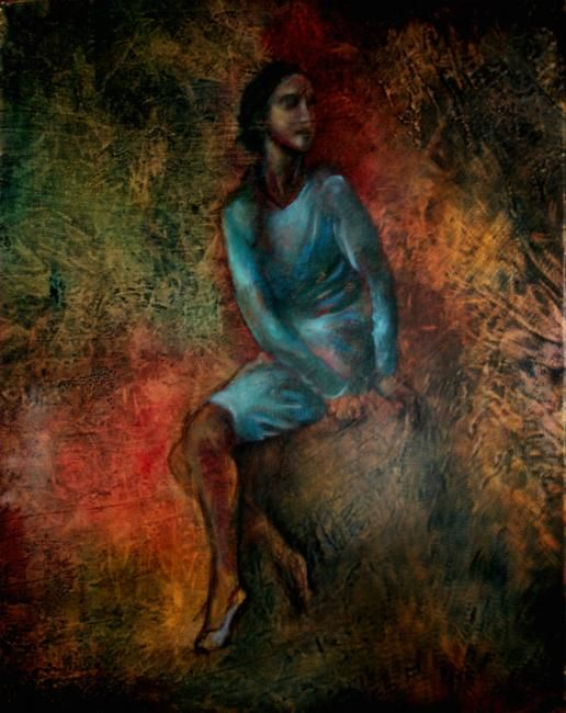Sitting Girl - Painting ©2007 by L.Jakobsson -