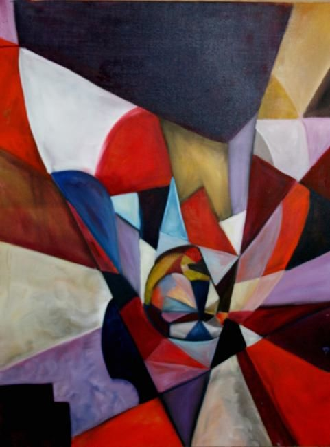 Cubistic selfportrait - Painting ©2007 by L.Jakobsson -
