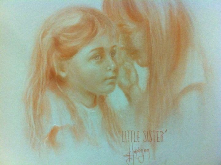 Little sister - Painting, ©2013 by L.Jakobsson -