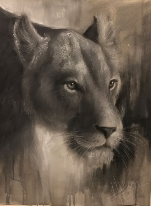 """Painting titled """"Lioness"""" by L.Jakobsson, Original Art,"""