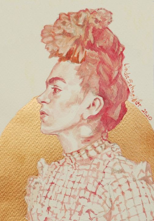 """Drawing titled """"Frida Kahlo in Red"""" by Linda Schneider, Original Art, Watercolor"""