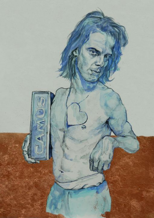 """Drawing titled """"Blue Nick Cave"""" by Linda Schneider, Original Art, Watercolor"""