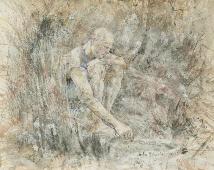"""Drawing titled """"Roy in the Australi…"""" by Linda Schneider, Original Art, Graphite"""