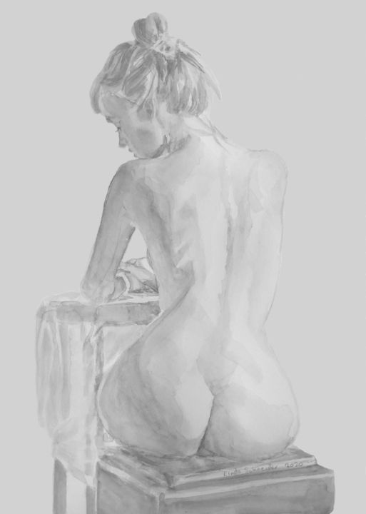 """Drawing titled """"Seated Grpht Nude S…"""" by Linda Schneider, Original Art, Graphite"""