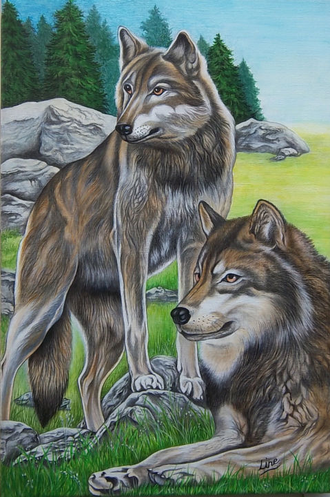 loup - Painting,  23.6x15.8x0.6 in, ©2015 by LINE-ROSE -                                                                                                                                                                                                                                                                                                                      Figurative, figurative-594, Cotton, Animals, loup, indiens