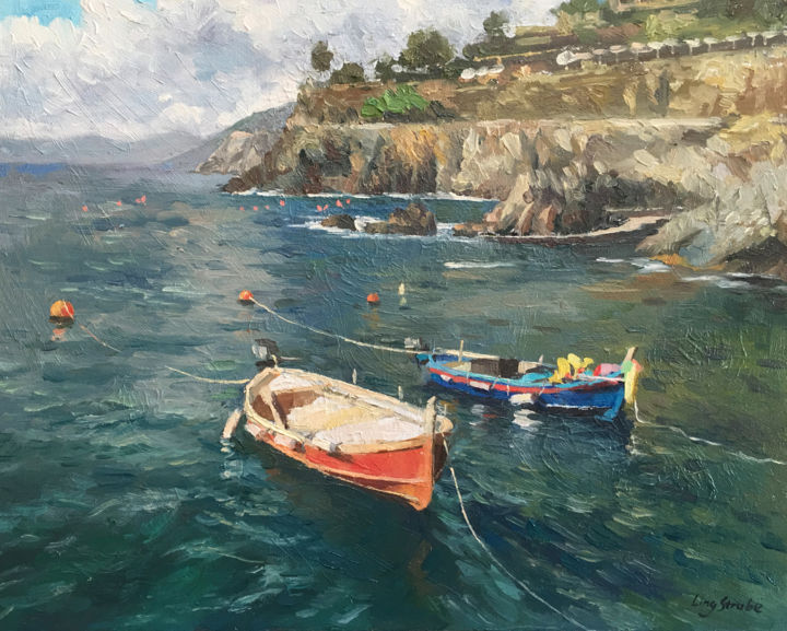 boat-in-italy-04.jpg - Painting,  16.9x20.9x1.1 in, ©2019 by Ling Strube -                                                                                                                                                                                                                                                                                                                                                                                                                                                                                                                                                                                                                                                                                                                                                                              Impressionism, impressionism-603, Other, Boat, Fish, Landscape, Seascape, italy landscape, italy seascape, italy boat, italy harbour, boat oil painting, boat art, italy art, italy painting, water and sky