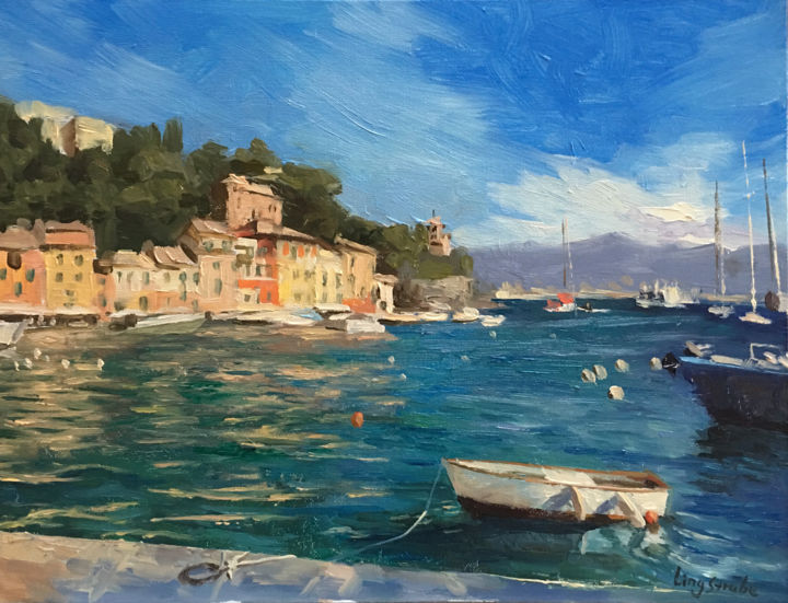 Italy Harbour - Portofino - Painting,  11.8x15.8x0.2 in, ©2019 by Ling Strube -                                                                                                                                                                                                                                                                                                                                                                                                                                                                                                                                                                                                                                                                                      Impressionism, impressionism-603, Other, Boat, Landscape, Seascape, Travel, boat landscape, italy harbour, italy landscape, boat art, potofino, seascape, harbour landscape