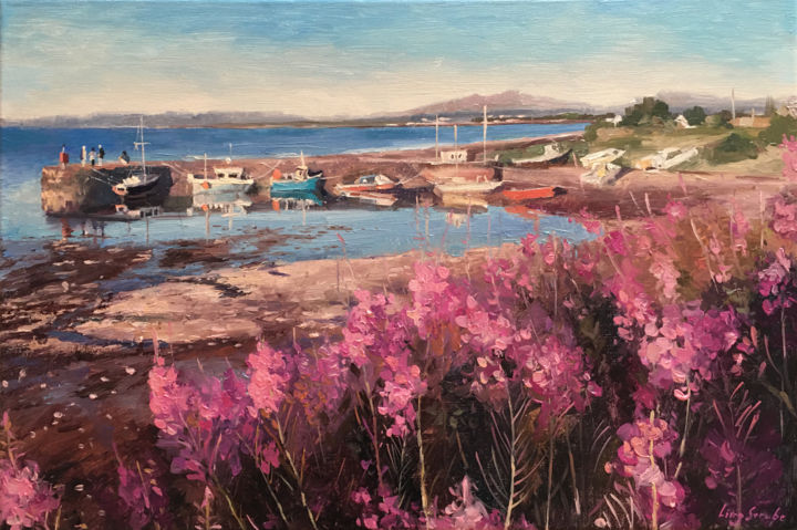 Scotland Landscape - 4 - Painting,  15.8x23.6x0.6 in, ©2019 by Ling Strube -                                                                                                                                                                                                                                                                                                                                                                                                                                                                                                                                                                                                                                                                                                                                                                                                                      Impressionism, impressionism-603, Landscape, Nature, Seascape, Scotland landscape, scotland painting, scotland art, scotland seenery, scotland view, scotland boat, scotland seascape, flower and boat, boat painting, scotland on canvas, impressionistic art, painting on canvas