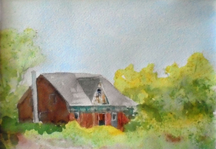 """Painting titled """"Old house in Prince…"""" by Lin Manlow, Original Art, Watercolor"""