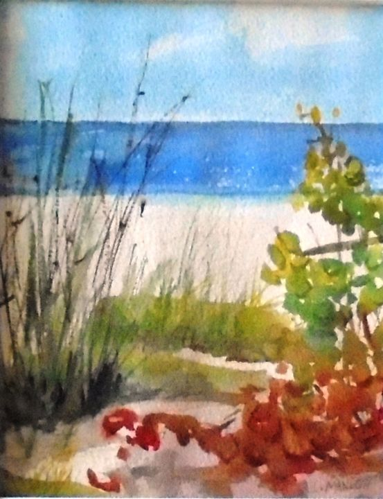 """Painting titled """"Florida beach"""" by Lin Manlow, Original Art,"""