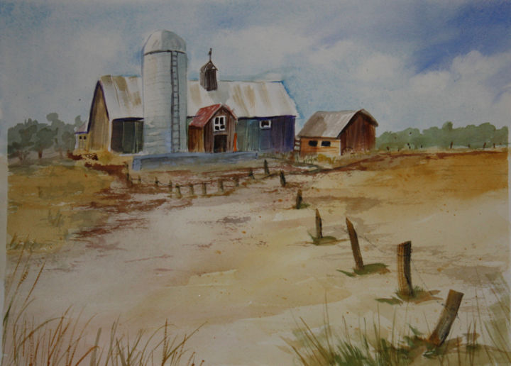 """Painting titled """"april-2014-county-b…"""" by Lin Manlow, Original Art, Watercolor"""
