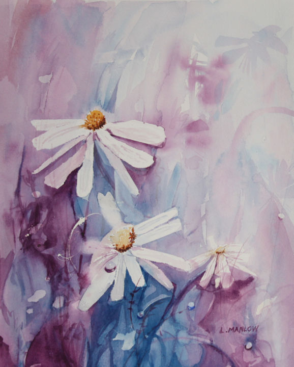 """Painting titled """"Daisies in blue"""" by Lin Manlow, Original Art, Watercolor"""
