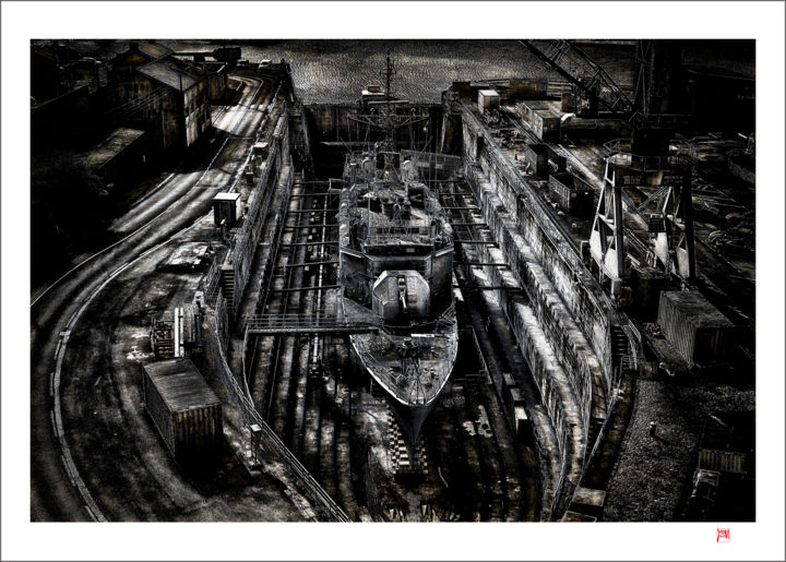 """Photography titled """"Navire en forme de…"""" by Lionel Morateur, Original Art, Manipulated Photography Mounted on Aluminium"""