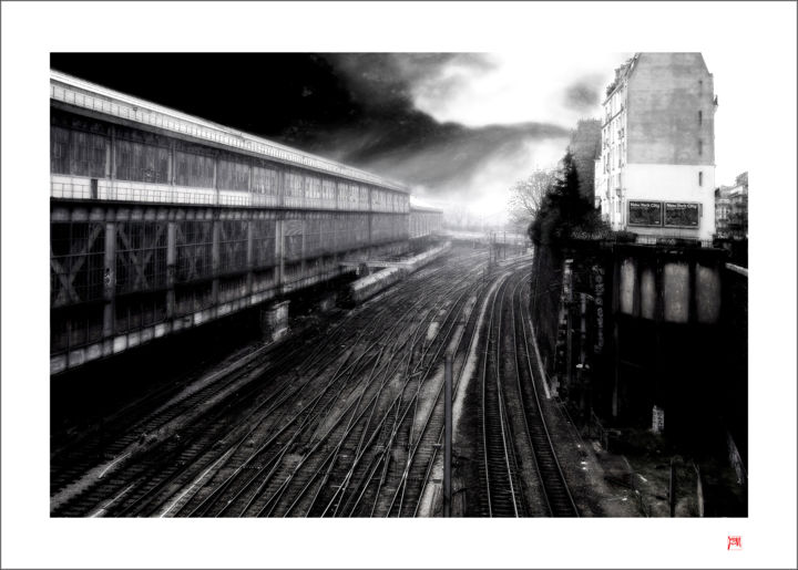 """Photography titled """"Paris-Saint-Lazare"""" by Lionel Morateur, Original Art, Manipulated Photography Mounted on Aluminium"""