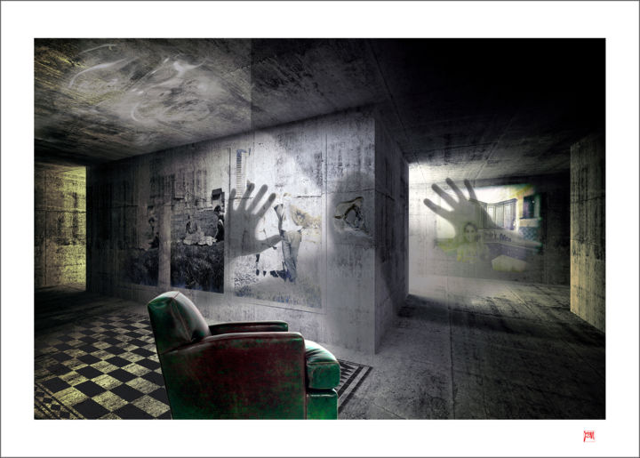 """Photography titled """"La machine à remont…"""" by Lionel Morateur, Original Art, Manipulated Photography Mounted on Aluminium"""