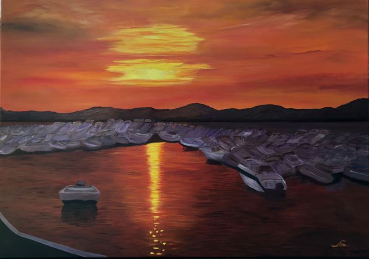 """Painting titled """"Sunset in the port…"""" by Lisa Elinor, Original Art, Oil"""