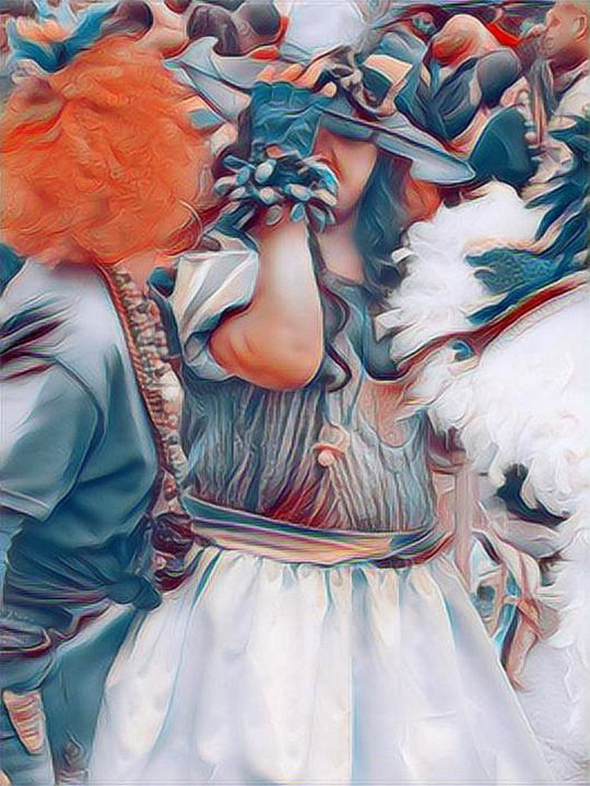 """Photography titled """"Mardi Gras lady in…"""" by Lisa Kendall Mitchell, Original Art, Digital Photography"""
