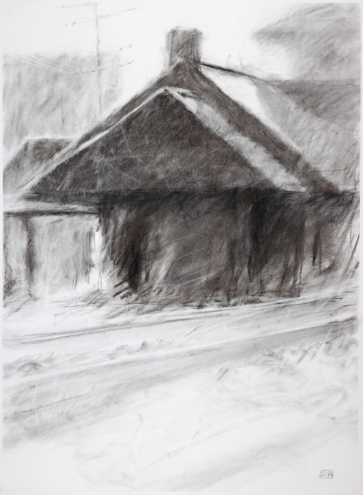 """Drawing titled """"Depot in Light and…"""" by Lisa Tennant, Original Art, Charcoal"""