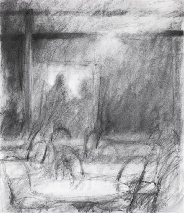 Café Interior - Drawing,  23x20x0.1 in, ©1990 by Lisa Tennant -                                                                                                                                                                                                                                                                                                                                                                                                                                                                                                                                                                                                                                                                                                                              Expressionism, expressionism-591, Architecture, Black and White, Cityscape, Interiors, interior, charcoal, drawing, cafe, interior art, architecture, places, interior spaces, sketch