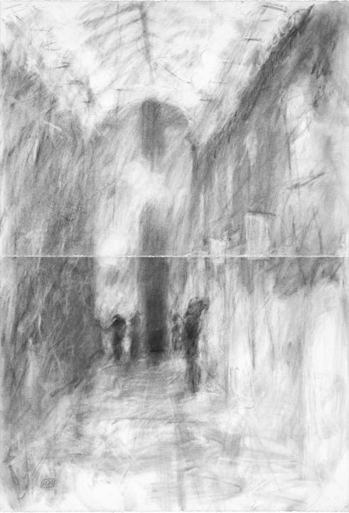 """Drawing titled """"Nickels Archade"""" by Lisa Tennant, Original Art, Charcoal"""