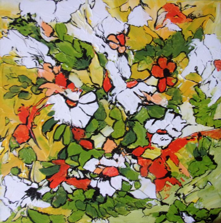 voilà le printemps - Painting,  40x40x2 cm ©2018 by Lise Buissart -                                                            Contemporary painting, Canvas, Flower, moderne, fleurs stylisées, orange, jaune, vert