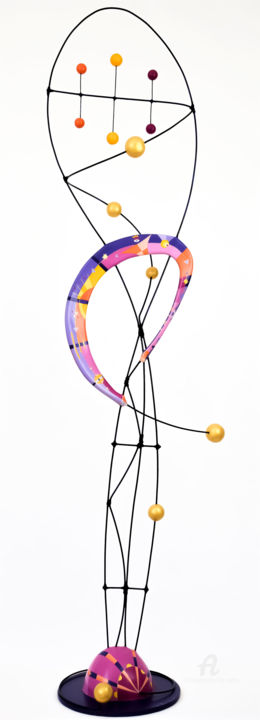 Lumière de Vie - Sculpture,  45.7x12.2x9.8 in ©2004 by Lise Dedieu -                                                                                                                                Abstract Art, Art Deco, Minimalism, Contemporary painting, Aerial, Calligraphy, Light, Music, Health & Beauty, ligth, zen, tao, meditation, yoga, violet, rose, pink, graphic