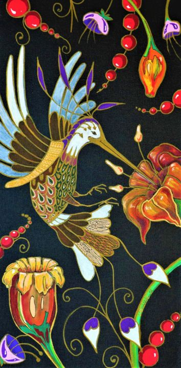 Once Upon a Time in the Garden - © 2019 birds, botanic, fantasy, flower, garden, nature, colors, decor, art and craft, hummingbirds, exotic, bright, gift, positive, happy, original, home, acriylic, painting, black canvas, illustration, good mood, liudmyla durante, geneva, free shipping, canvas, wonderful, amazing, buy, print, not expensive Online Artworks