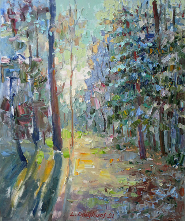 """Painting titled """"The morning light"""" by Liudvikas Daugirdas, Original Art, Oil Mounted on Stretcher frame"""