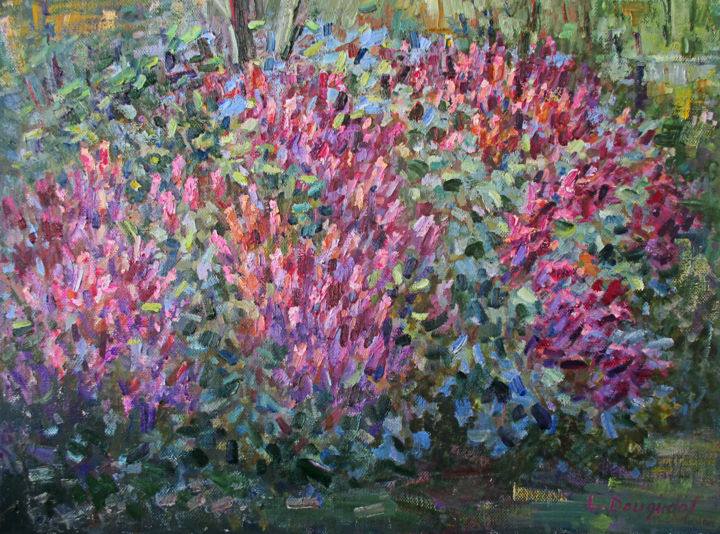 """Painting titled """"The lilac tree afla…"""" by Liudvikas Daugirdas, Original Art, Oil Mounted on Stretcher frame"""