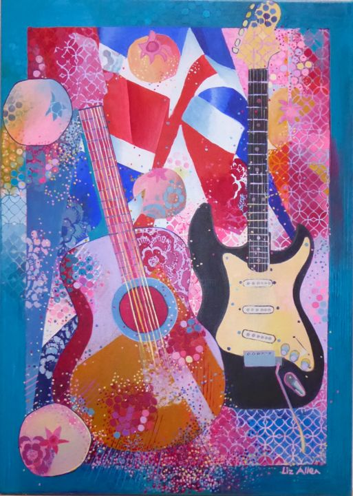 """Painting titled """"Guitars with flag a…"""" by Liz Allen, Original Art, Acrylic"""