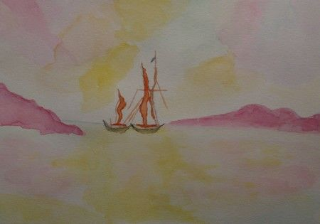 Voiliers, aquarelle - Painting,  7.5x9.8x0.4 in, ©2011 by Liza Peninon -                                                                                                                                                                                                                          Figurative, figurative-594, Seascape, Voiliers