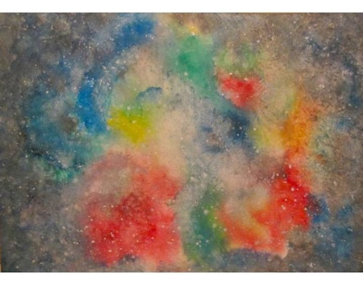 Rainbow Nebula, watercolor - Peinture,  9,5x12,6 in, ©2014 par Liza Peninon -                                                                                                                                                                          Abstract, abstract-570, Cosmos
