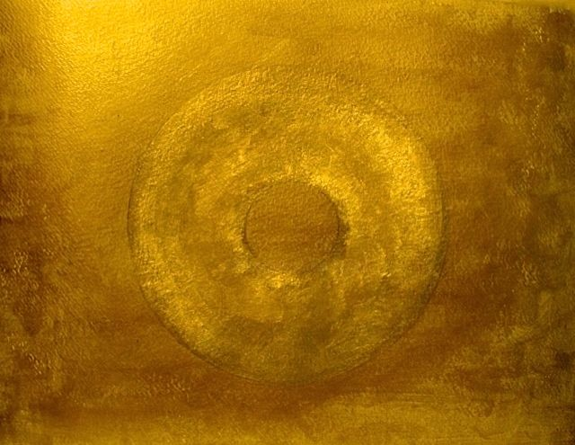 Golden Galaxy, abstract painting - Painting,  9.5x12.6 in, ©2015 by Liza Peninon -                                                                                                                                                                          Abstract, abstract-570, Outer Space