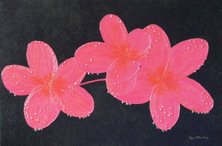 Exotic Jewels - semi abstract plumeria flower - Painting,  23.6x35.4x1.6 in, ©2017 by Liza Wheeler -                                                                                                                                                                                                                                                                                                                                                                                                                                                                                                                                                                                                                                                                                                                                                                              Abstract, abstract-570, Canvas, Wood, Abstract Art, Botanic, Flower, Landscape, Nature, plumeria flower painting, wet flower painting, hawaiian flower painting, fragrant flower painting, beautiful flower painting, liza wheeler flower paintings, ornate flower painting