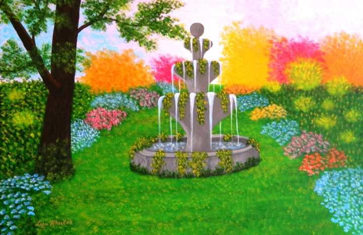 Make A Wish - large wild garden abstract landscape - © 2017 large colorful landscape, flower landscape, happy landscape, wishing well painting, wishing fountain painting, wild flowers landscape, garden landscape, liza wheeler paintings Online Artworks