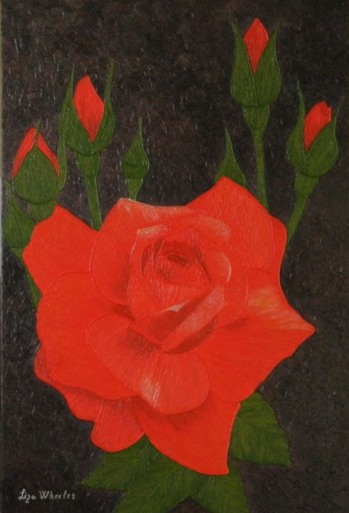 A Twinkle - modern red rose floral painting - Painting,  35.4x23.6x1.6 in, ©2017 by Liza Wheeler -                                                                                                                                                                                                                                                                                                                                                                                                                                                                                                                                                                                                                                                                                                                                                                              Abstract, abstract-570, Canvas, Wood, Abstract Art, Botanic, Flower, Landscape, Love / Romance, red rose painting, floral impressionist painting, palette knife painting, textured floral painting, contemporary floral painting, colorful rose art, liza wheeler flowers