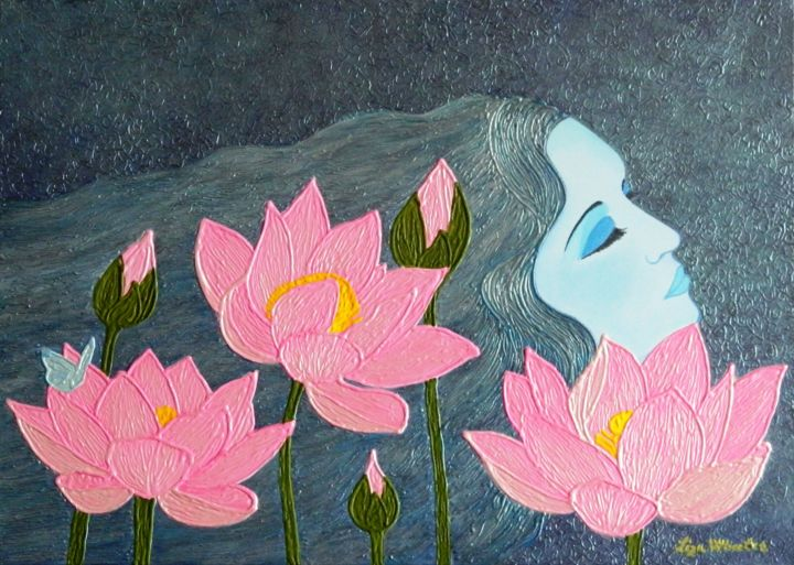 Magic dreams surreal lotus flower painting liza wheeler magic dreams surreal lotus flower painting painting 50x70x4 cm 2018 by liza izmirmasajfo