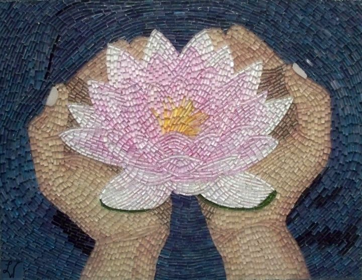 Lotus flower liza wheeler lotus flower mixed media 2008 by liza wheeler flower mosaic lotus flower izmirmasajfo