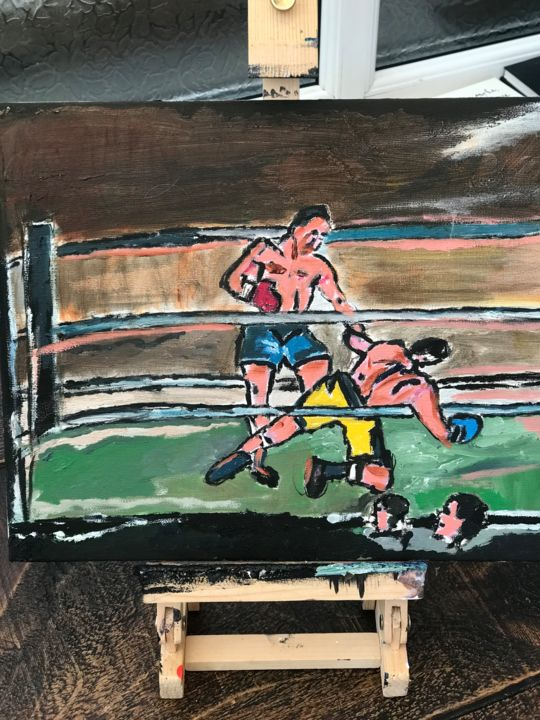 """Painting titled """"Boxing match"""" by John Hennessey, Original Art, Oil"""
