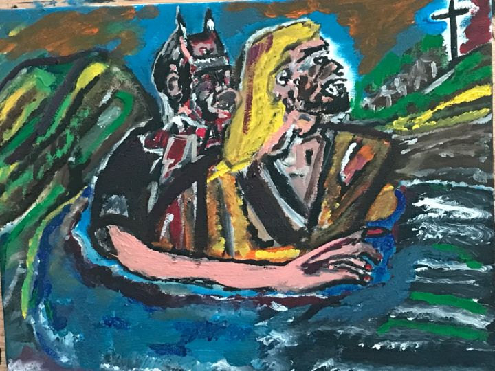 """Painting titled """"Jesus and the devil"""" by John Hennessey, Original Art, Oil"""