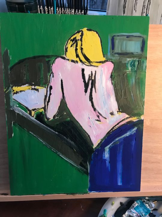 """Painting titled """"Girl in bed"""" by John Hennessey, Original Art, Oil"""
