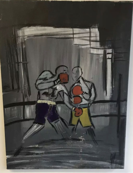 """Painting titled """"The boxers"""" by John Hennessey, Original Art, Oil"""