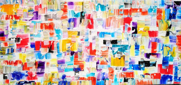 Urban - Painting,  70x150x2 cm ©2018 by Joan Llaverias -                                                        Abstract Art, Canvas, Abstract Art