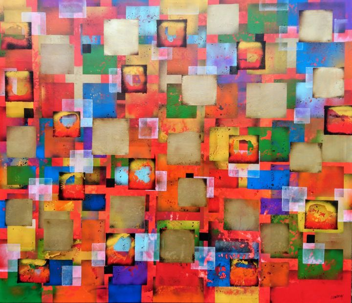 Geometric rouge - Painting,  130x150x3 cm ©2018 by Joan Llaverias -                                                        Abstract Art, Canvas, Abstract Art
