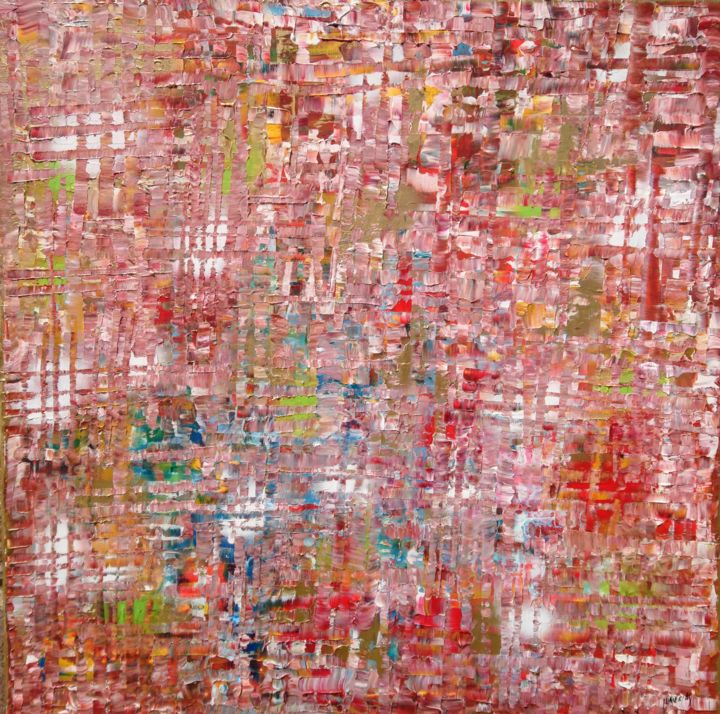 Urban gold rosado - Painting,  39.4x39.4x0.8 in, ©2020 by Joan Llaverias -                                                                                                                                                                                                                                                                                                                  Abstract, abstract-570, Abstract Art, Minimal, Love., Reiki