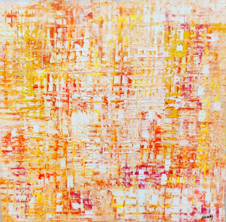 Urban orange zen - Painting,  39.4x39.4x0.8 in, ©2020 by Joan Llaverias -                                                                                                                                                                          Abstract, abstract-570, Abstract Art