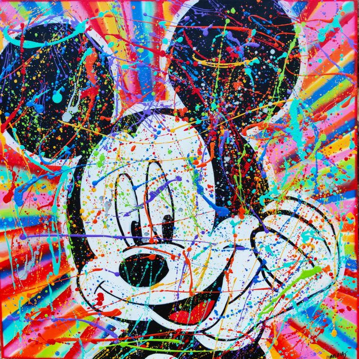 Mickey happy pop - Painting,  39.4x39.4x0.8 in, ©2020 by Joan Llaverias -                                                                                                                                                                          Pop Art, pop-art-615, Celebrity