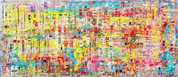 Urban gold fluo - Painting,  27.6x59.1x0.8 in, ©2020 by Joan Llaverias -                                                                                                                                                                          Abstract, abstract-570, Abstract Art