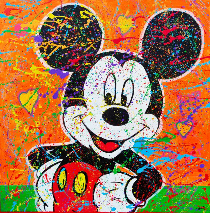 Mickey optimista - Pintura,  43,3x43,3x0,8 in, ©2020 por Joan Llaverias -                                                                                                                                                                                                                                                                  Pop Art, pop-art-615, Mickey, pop, Disney